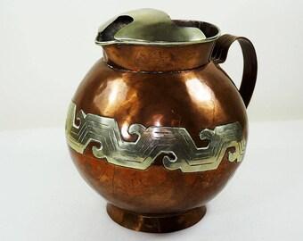 Vintage Mexican Copper & Silver Jug
