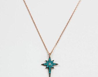 Silver North Star Necklace with Zircon