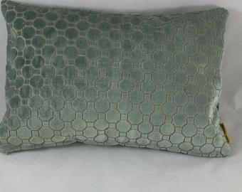 Green patterned velvet cushion cover