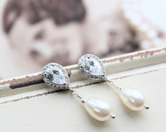 Art Deco Earrings , Bridal Earrings, Pearl Earrings, Vintage Style Zircon Crystal  Wedding Earrings,  Pearl Drop Earrings,  Stud Earrings