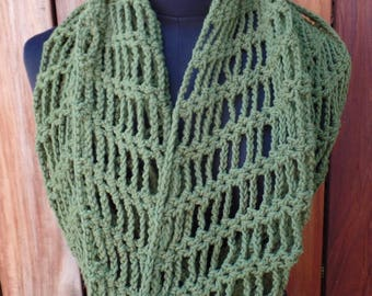 Olive Green Crochet Cotton Infinity Scarf