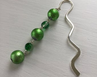 Handmade Green Glass Bead Bookmark.