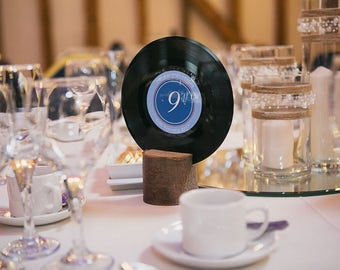 Vintage Vinyl Record Wedding Table Number