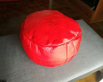 Morocco red leather Ottoman footstool Ottoman ethnic, handmade decorative learth