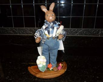 OOAK Bunny, His head, hands and feet are hand sculpted from polymere Clay, then dressed and adorned with repurposed and vintage trims.