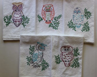 Hand Embroidered Tea Towels - Embroidered Tea Towels - Set of 5 - Colorful Owls