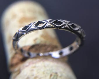 925 Sterling Silver  Ring with Handmade Oxidized Texture