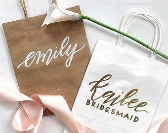 Custom Gift Bags | Customized Hand-Lettered Gift Bags | Thank You, Bridesmaids, Birthday, Welcome, Wedding Gift Bags | Personalized Gift Bag