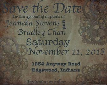 Steampunk Save The Date Printable Instant download