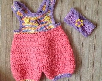 Crochet Newborn baby girl jumper, pink/purple baby girl romper with matching headband, summer baby clothes
