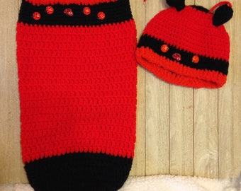 Crochet Lady Bug cocoon with matching hat. Crochet Lady Bug baby girl clothes, Crochet Lady Bug, Crochet Red/Black cocoon,Lady bug hat.