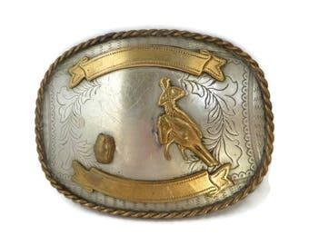 Rodeo Belt Buckle, Vintage Men's Western Buckle, Barrel Racing Trophy Buckle