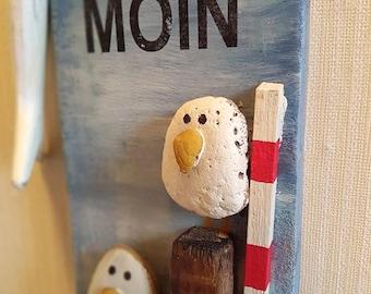 """Stones on Driftwood """"moin gulls ' shabby maritim"""