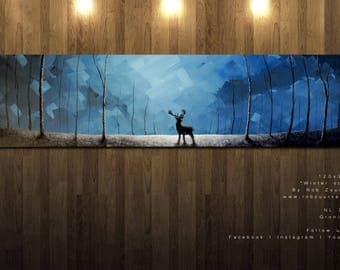 Painting deer in the forest, (atmosphere, modern interior design, eye catcher, canvas)