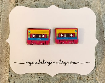 Cassette Tape Stud Earrings - I love the 90s  - Mix Tape Studs - Old School Earrings - Retro Earrings - Quirky Earrings - Quirky Studs - 80s