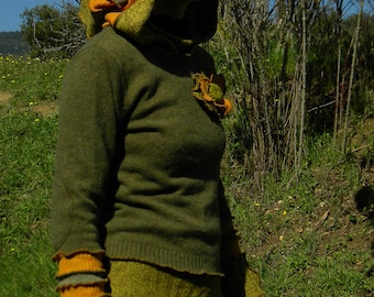 Khaki and orange transformed sweater with button crochet wool Hoodie - style Bohemian
