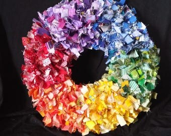 Rainbow Rag Wreath