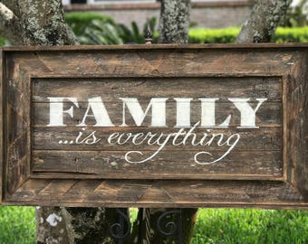 Family Is Everything wall art, rustic wall hanging, reclaimed wooden sign,  016
