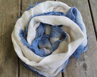 Big linen scarf, hand painted linen scarf, pure linen scarf, summer scarf, eco friendly scarf, linen shawl, rectangular linen scarf
