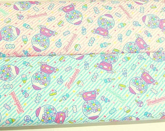 "SANRIO fresh punch BLUE Japanese fabric 100% Oxford / Half yard  110 cm x 50 cm (about 43.30 ""x 19.50"") KAWAII from Japan"