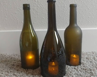 Etched Wine Bottle Candle Holder