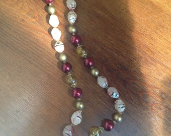 Vintage plastic beaded necklace 1970s