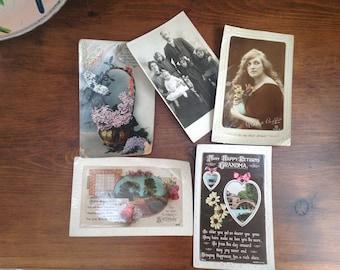 Vintage photo postcards x 5 1900s