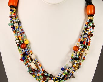 Multicolored necklace, Masai necklace, Beaded necklace, Hot necklace