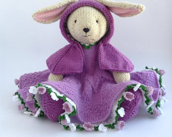 Knitted Bunny Rabbit, stuffed animals, soft toys, knit toys, handmade toys, photography prop toy, softie, dressed bunny girl