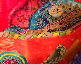 Abstract print Accessories summer Spring Hand painted silk Summer outfit Shawl soft Batik chiffon Amazing gift Cold batik silk