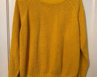 Vintage 1980's BIBESCO Yellow/Mustard Oversized Sweater