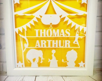 Personalised Circus Theme nursery decor, personalised papercut, nursery art, nursery wall art, nursery wall decor, name art, circus nursery