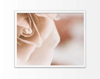Rose art print Beige wall art Pink flowers Printable poster digital Photography Instant Download