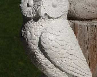 White Owl statue, concrete, panted white, indoor outdoor safe