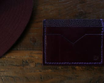 Three slot leather card wallet Purple leather wallet purple wallet hand stitched credit card wallet
