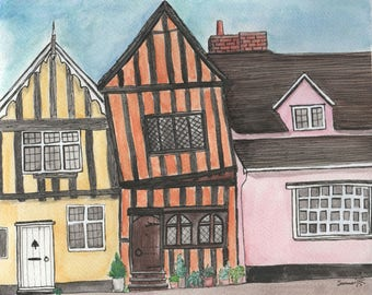 The Crooked House of Lavenham // Fine Art Watercolour Print