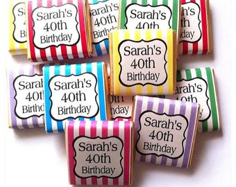 30 x Personalised Mint Chocolate Neapoitans Party Favours Candy Stripe wrapped