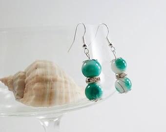 Green White bead earrings, Glass Drop earrings shiny, handmade elegant woman earrings, silver plated earrings, Hanging earrings,
