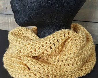 Merino Crochet Infinity Cowl, Scarf, soft gold color