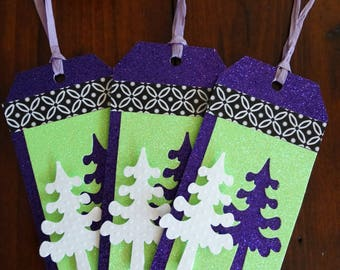 Sparkly purple and green Christmas tags