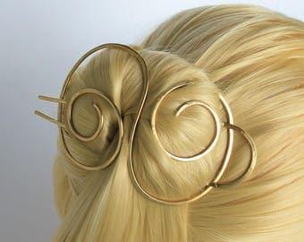 Brass Barrette Hair Clip Hair Pin Metal hair barrette Hair Stick Barrette Hair Bun Holder Bun Pin Bun Cover Brass hair slide Long Hair Toy