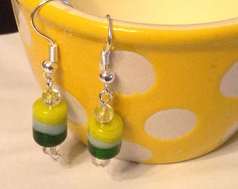 Green and yellow striped glass beaded earrings