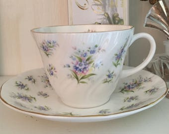 Vintage Queen's Cup & Saucer Forget-me-not pattern Blue