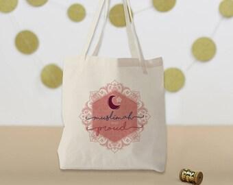 Muslimah And Proud - Tote Bag - Islamic Gift - Muslim Book Bag Iqra