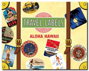 Travel Stickers - Aloha Hawaii - Luau, Outriggers, Beach Scenes, Maui, Kauai, Honolulu and more - 20 in Color - Laughing Elephant