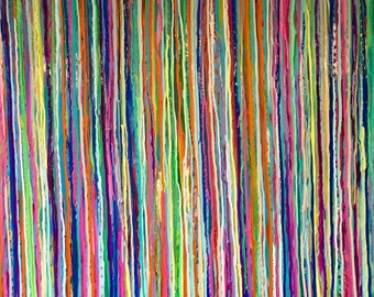 "Acrylic abstract painting with bright, bold lines dripped down the canvas: ""Blurred Lines"""