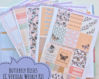 Erin Condren Vertical weekly planner sticker kit - Butterfly Kisses, affordable, no while space