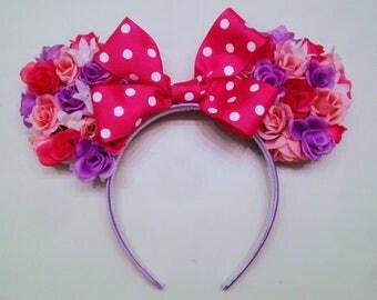Minnie Mouse Ears, Floral Minnie Ears, Custom Minnie Ears