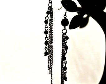 Black Beaded Chainmail Earrings, Beaded Tassel Earrings, Chainmaille Earrings, Edgy Earrings, Badass Jewelry, Profits Donated to Charity