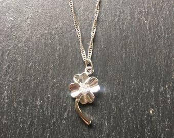 Four leaf clover pendant with crystal